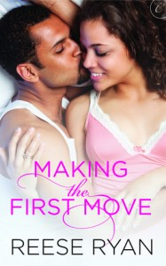 Book cover for Making the First Move by Reese Ryan. A black man wearing a white tank top and a black woman in a pink and white nightie cuddle in bed.