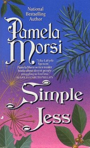 Book cover for Simple Jess by Pamela Morsi. It has the author's name and book title in white in a curlicued font on a blue, purple and pink background along with different kinds of tree leaves. Very 90s looking.