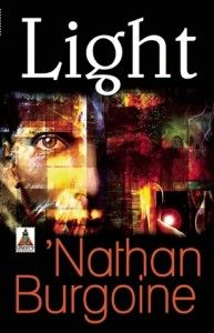 Book cover for Light by Nathan Burgoine.  Against a black background, a photomosaic forms a close-up of a white man's face.
