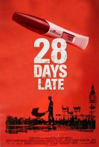 "A parody  of the poster for the zombie movie 28 Days Later. A silhouette of a man pushing a baby stroller in front of a ruined London landscape. Above it in white letters against a blood red background is the title ""28 Days Late"" and a positive pregnancy test."