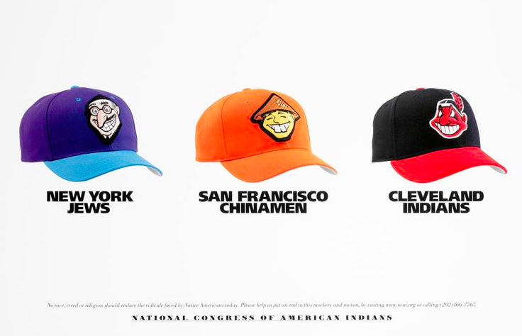 "A picture of three baseball caps. Each has a caricatured face that fits the stereotypes associated with the name. The first hat is ""New York Jews,"" the second hat ""San Francisco Chinamen,"" and the third is the current hat of MLB's Cleveland Indians."