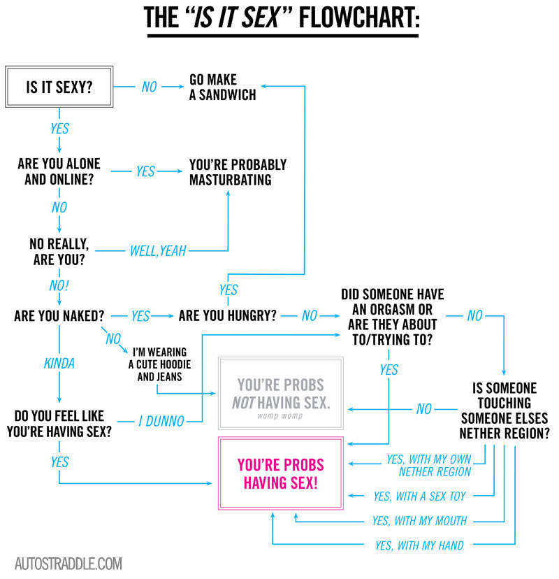 "A flowchart that helps modern lovers determine if their current activity counts as ""sex."""