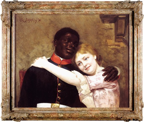A painting from 1890 of a black man in a military uniform being embraced by his wife, a white woman with reddish hair in a floral gown.