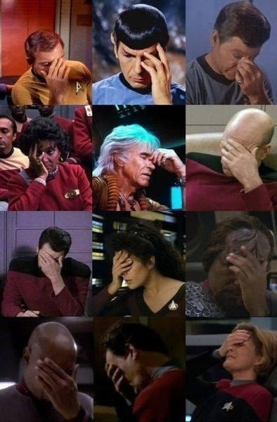 A collage of 12 Star Trek stills where a character is facepalming.