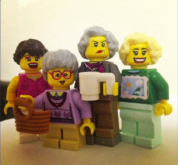 Four Lego mini figures made to resemble the women from the TV show Golden Girls.