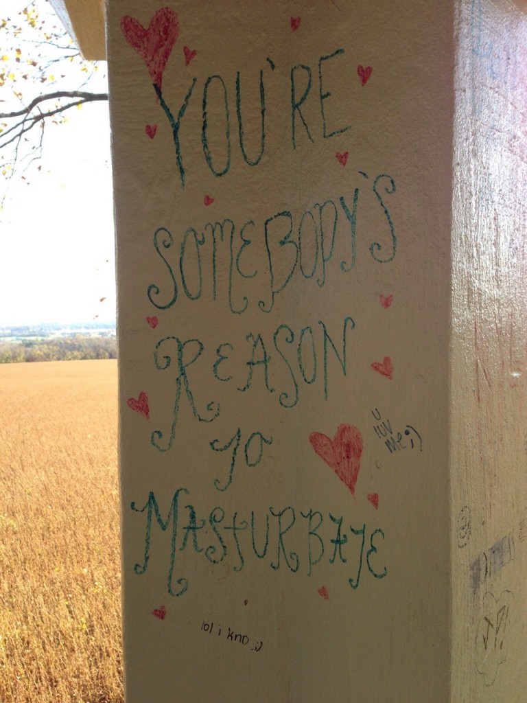 "A concrete post painted white. Written in a girly font with hearts scattered around is ""You're somebody's reason to masturbate"""