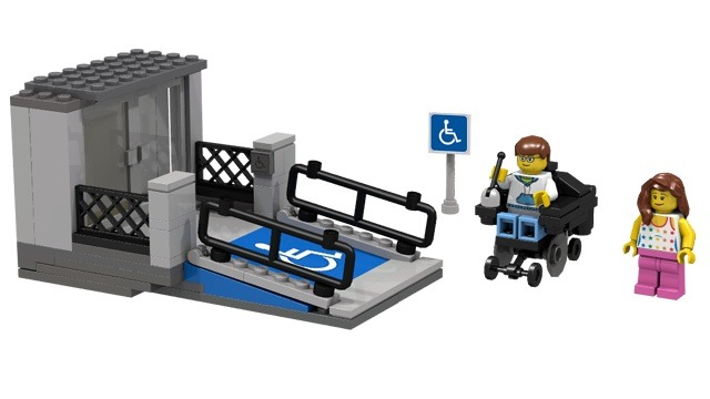 A LEGO set that includes a wheelchair ramp and a power wheelchair for a LEGO minifigure.