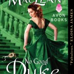 A green tone on tone cover has a red-haired woman in an emerald ball gown running toward stairs while looking back at the viewer