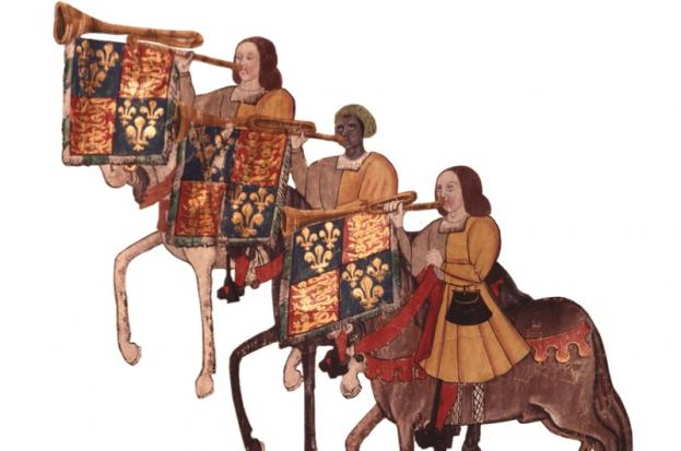 The Westminster Tournament Roll shows the black trumpeter  John Blanke, who was employed by Henry VII and Henry VIII