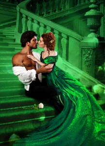 an aristocratic couple in disheveled clothed passionately embrace on a staircase washed in emerald green