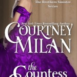 A white woman in a purple satin ball gown stands in profile, her face to the reader.