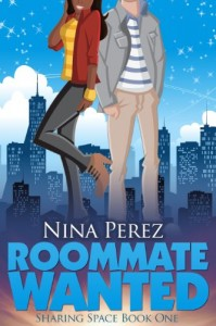 Book cover for Roommate Wanted by Nina Perez. A color illustration of a black woman in black pants, yellow shirt and a red cardigan standing next to a white man in khakis, blue and white striped tshirt and a grey long-sleeved shirt.
