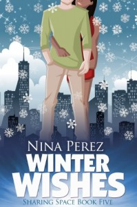 Book cover for Winter Wishes by Nina Perez. A color illustration of a white man in khakis and a green sweater. A black woman in a red cocktail dress stands behind him with an arm around his waist.