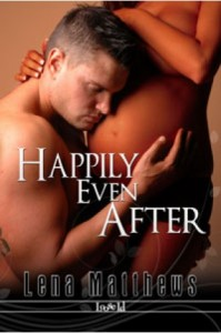 Book cover for Happily Even After by Lena Matthews. A shirtless white man embraces the pregnant belly of a nude black woman.