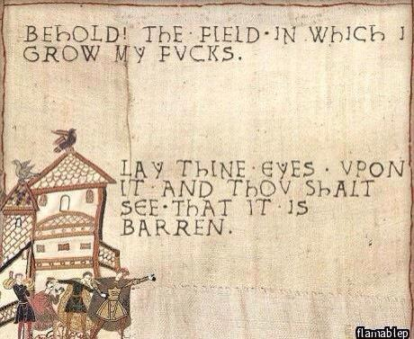 "An image of what looks like a work of medieval embroidery. The words read ""Behold! The field in which I grow my fucks. Lay thine eyes upon it and thou thalt see that it is barren."""