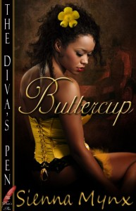 Book cover for Buttercup by Sienna Mynx. A black woman in a yellow and black corset sits looking over her right shoulder. A yellow flower in pinned in her short curly hair above her right ear.