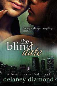 Book cover for The Blind Date by Delaney Diamond. Green background. Bottom half of the image is a night view of a city skyline. Top half is a view of the lower half of a white man's and a black woman's face and neck.
