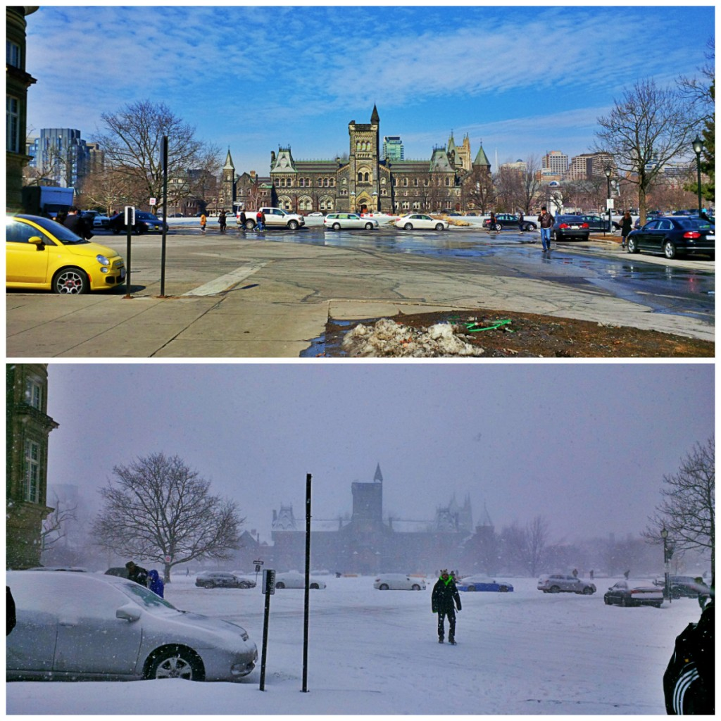 Top photo shows a view of a Toronto street with blue sky and all the snow melted. Bottom image is the same view of Toronto the next day, when a blizzard coats everything in white.