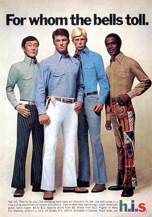 "A brown-haired Asian man, a brown-haired white man, a blond white man and a brown-haired black man stand together in a 1970s advert for bell bottom pants. The title copy reads ""for whom the bells toll."""