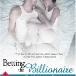 Book cover for Betting the Billionaire by Avery Flynn. A black woman with natural hair worn in an afro smiles while she cuddles in a bed with a white man with short brown hair. Both are wearing white pants and white tank tops.