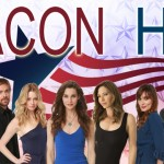 The cast of web series Beacon Hill stands in front of the show's patriotic flag banner logo