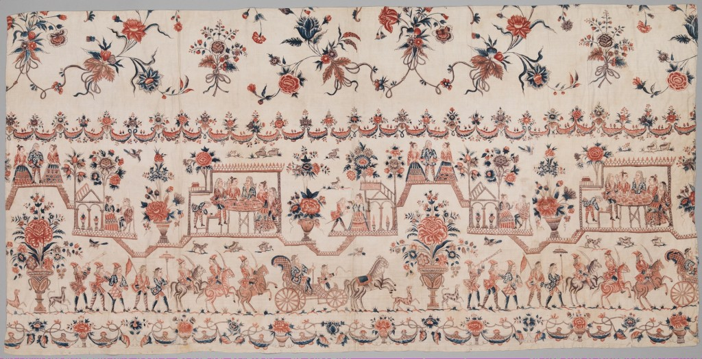 A petticoat from 18th century Netherlands imported from India. Floral and city scenes are embroidered in colored thread on off-white cotton.