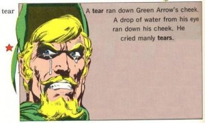 DC Comics character Green Arrow grimaces while tears run down his face