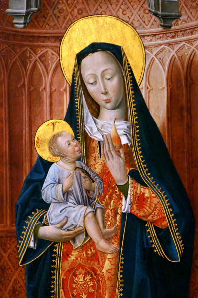 A Renaissance-era painting of the Madonna with baby Jesus. He looks like a miniature, wrinkled old man as he cranes his neck oddly to look up at Mary.