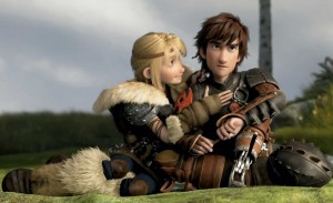 A young blonde woman smiles at a determined looking young white ma., animated in viking attire