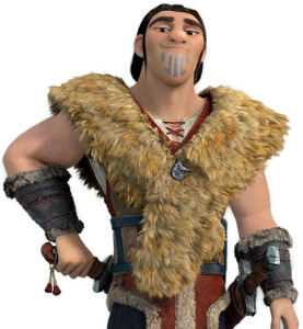 An animated white viking with a large torso strikes a conventional attractive male pose