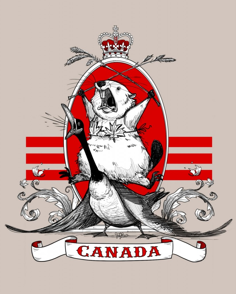 An illustration in the style of a national crest. A beaver wearing a maple leaf bra rides on a Canada goose and both have their mouths open as if  yelling. CANADA is written below them on a scrolled banner.