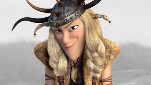 A blonde white woman animated as a viking smiles with sly malice
