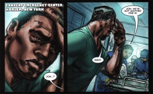 A black man in scrubs takes a moment in a busy ER before being called to the next patient.