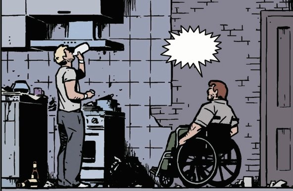 A panel from a comic book done in muted tones of blues and greys. Two white men are in a rundown kitchen. A blond man stands while drinking from a milk carton. A brown-haired man sits in a wheelchair and speaks to the blond man. The word bubble is blank.