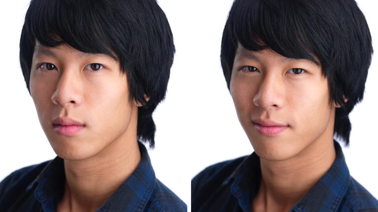 "Side-by-side images of an Asian man with black hair. In the left pic he is unsmiling and his eyes are fully open. In the right pic he has a faint, closed-mouth smile and is ""squinching"" his eyes to just short of a squint."