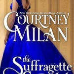 A white woman with brown hair wearing a huge royal blue ball gown looks over her shoulder at the viewer in one of Courtney Milan's signature cover styles
