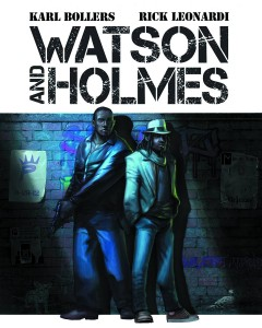 Two black men stand in a dark alley, on the left a short haired man holds a gun, beside him a long haired man in a hat and suit coat rests his hands casually in his pockets