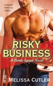 Book cover for Risky Business by Melissa Cutler. A shirtless white man wearing jeans has a pair of hockey skates hung over his left shoulder.