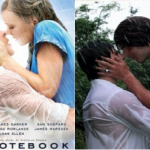 Two images side by side. Left is the movie poster for the Notebook, where Ryan Gosling and Rachel McAdams embrace in the rain. On the right, two white male junior hockey players recreate the scene.