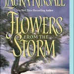 Book cover for Flowers from the Storm by Laura Kinsale. A tree in the foreground with a large country home in the distance and a sky that's bluish-purple.