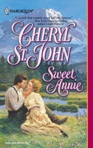 Book cover for Sweet Annie by Cheryl St.John. A painted Harlequin Historical cover with a white man in overalls and a white woman in a yellow gown sit by a riverbank.
