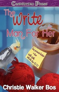 Cover for The Write Man for Her by Christie Walker Bos. A parakeet sits on a red bra sitting next to a peanut butter jar with a post-it note on it.