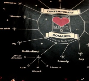 a graphic sets genre tropes as stars around a heart in a night sky