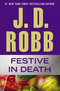 The author's name dominated the top half, with the second divided between title and a holiday colored scene of money, stemware and crime scene tape