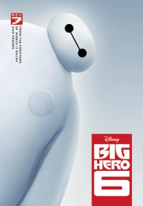 Baymax, a large puffy white robot, leans in from the left to examine the viewer