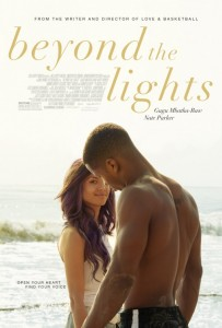 Movie poster for Beyond The Lights. A light-skinned, mixed-race woman peers around a shirtless black man who has his back to the camera and gives the viewer a knowing look and slight smile while the two of them stand on a shore.