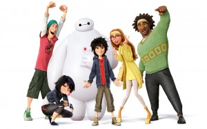 The core cast of Big Hero 6 assemble in front of the large robot