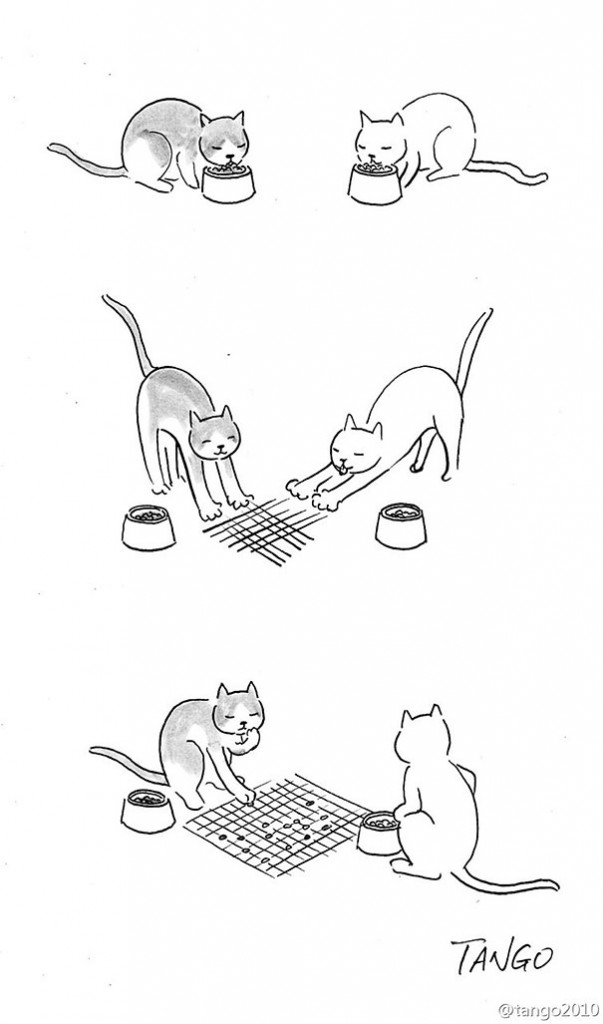 A simple hand-drawn comic in three panels. Top panel shows two cats eating kibble. Middle panel shows them scratching lines in the floor. Bottom panel shows them playing checkers with kibble on the grid their scratches made.