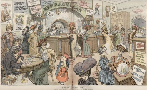 A two-magazine page sized illustration from the early 1900s showing a pub full of women in Edwardian era plumed hats, full skirts and high-necked blouses neglecting their children and their husbands.