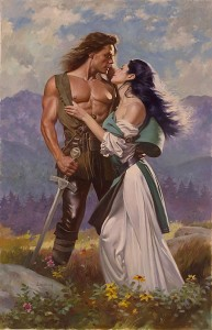 An old school romance cover painting with a long haired white man with a bare chest, leather pants and a sword with a raven haired white woman clinging to his chest with her dress falling down her shoulder.